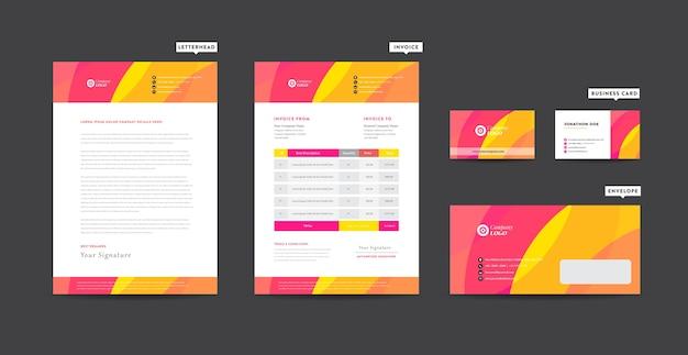 Identidade da marca corporativa, design estacionário, design de startups