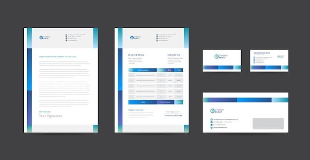 Identidade da marca corporativa para negócios, design de papelaria, design de documentos