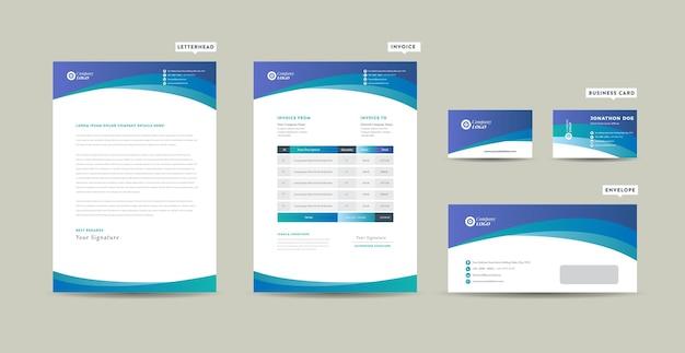 Identidade da marca de negócios corporativos, design estacionário, papel timbrado, cartão de visita, fatura, envelope, design inicial