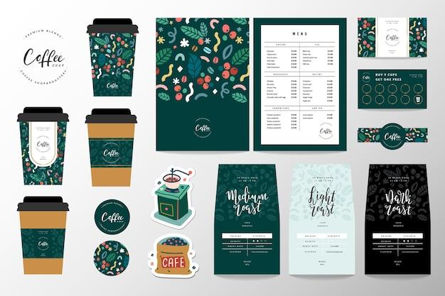 Identidade da marca do café definida para uma cafeteria ou cafeteria. Vetor Premium