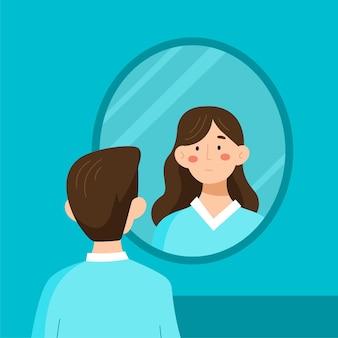 Identidade de gênero com a pessoa olhando no espelho