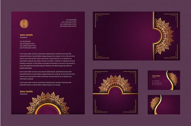 Identidade de marca de luxo ou modelo de design estacionário com arabesco de mandala ornamental de luxo