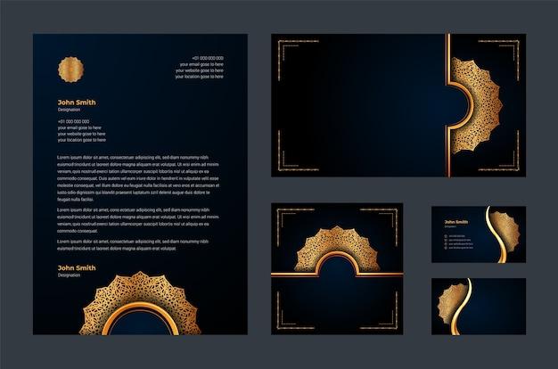 Identidade de marca de luxo ou modelo de design estacionário com arabescos de mandala ornamentais de luxo, cartão de visita, papel timbrado