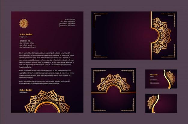 Identidade de marca de luxo ou modelo de design estacionário com mandala ornamental de luxo