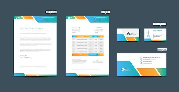 Identidade de marca de negócios corporativos, design estacionário, design de documentos de empresas iniciantes
