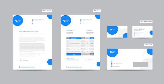 Identidade de marca de negócios corporativos   design estacionário   papel timbrado   cartão de visita   fatura   envelope   design de inicialização