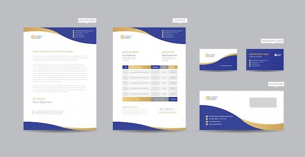 Identidade de marca de negócios corporativos | design estacionário | papel timbrado | cartão de visita | fatura | envelope | design de inicialização