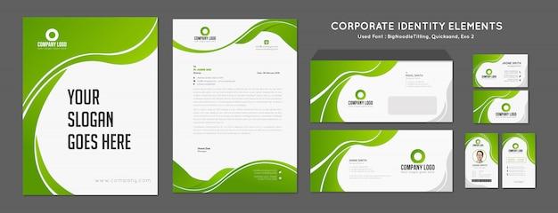 Identidade de marca verde - vetor