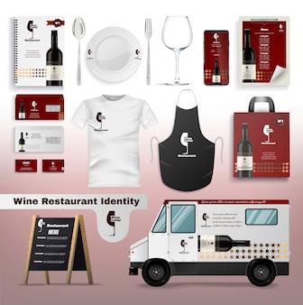 Identidade de restaurante de vinho, design de acessórios.