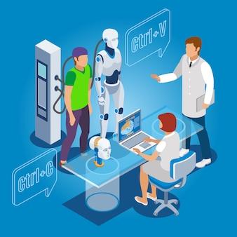 Identidade humana sendo copiada para o dróide com profissionais de informática e de saúde