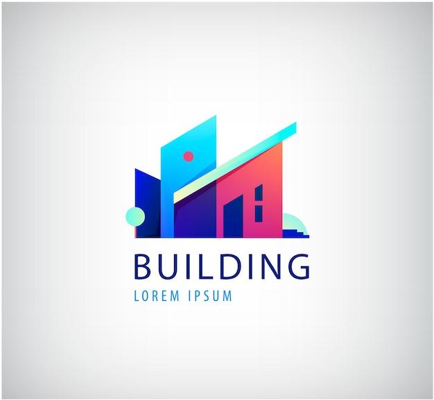 Identidade visual design de logotipo de imóveis multicoloridos, edifício, paisagem urbana