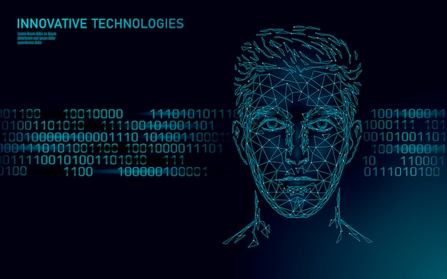 Identificação biométrica de rosto humano masculino de baixo poli. conceito de sistema assistente de inteligência artificial ai. o chatbot online pessoal ajuda a centralizar a tecnologia de inovação. ilustração 3d poligonal