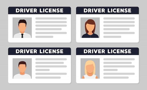 Identificação da carteira de motorista com foto avatar