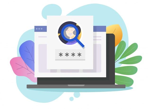 Identificação de identificação biométrica do rosto on-line no computador laptop ou na web reconhecimento pessoal facial segurança senha login