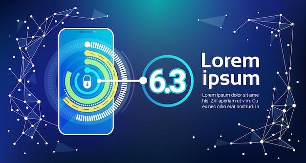 Identificação do conceito de segurança do telefone móvel e proteção app botão de bloqueio do smartphone na tela