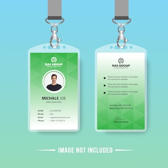 Identificação ou design de cartão de identificação