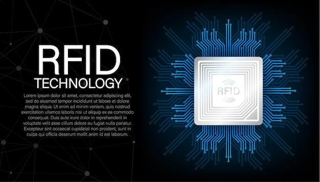 Identificação por radiofrequência rfid. conceito de tecnologia. tecnologia digital. ilustração das ações.