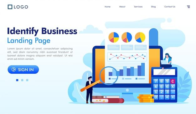 Identificar o vetor de ilustração de site de página de destino de negócios
