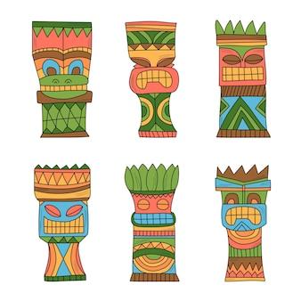 Ídolos coloridos de madeira polinésia tiki, escultura de estátuas dos deuses. ilustração vetorial