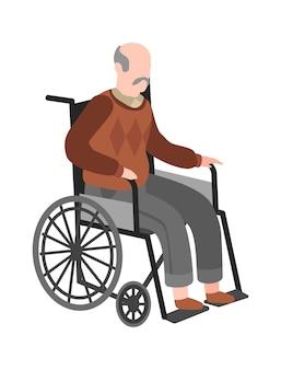 Idoso com deficiência em cadeira de rodas. idoso adulto com deficiência, conceito de medicina vetorial de saúde