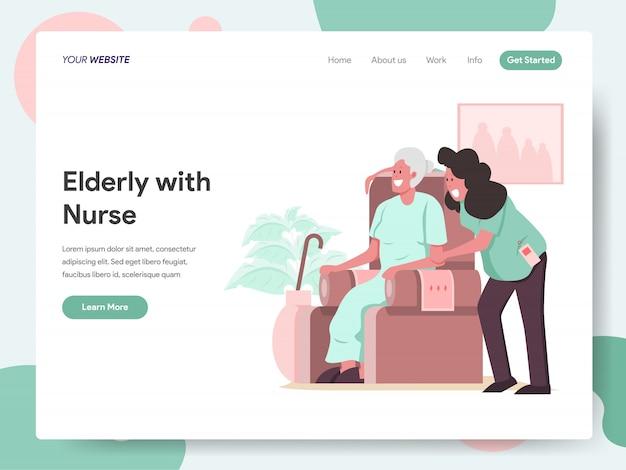 Idoso com faixa de cuidador ou enfermeira para página de destino