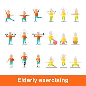 Idoso e mulher fazendo exercícios estilo de vida saudável estilo de vida ativo esporte para avós