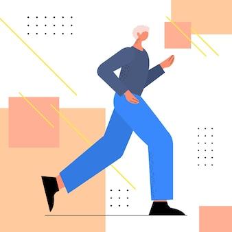 Idoso em roupas esportivas correndo avô aposentado fazendo exercícios físicos ativo, idoso, estilo de vida saudável