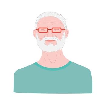 Idoso idoso humano aposentado retrato de um homem idoso sorridente e feliz.
