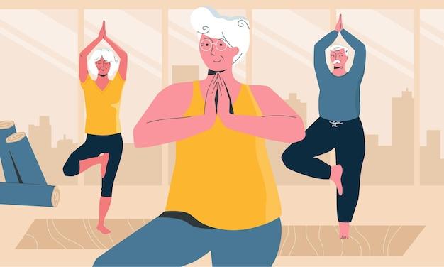Idosos alegres fazendo ioga em uma aula de ioga local ilustração horizontal