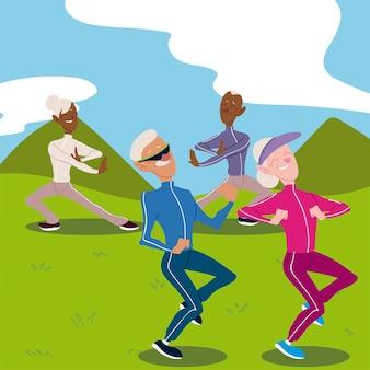 Idosos ativos, casais de idosos praticando ioga e ilustração caminhando
