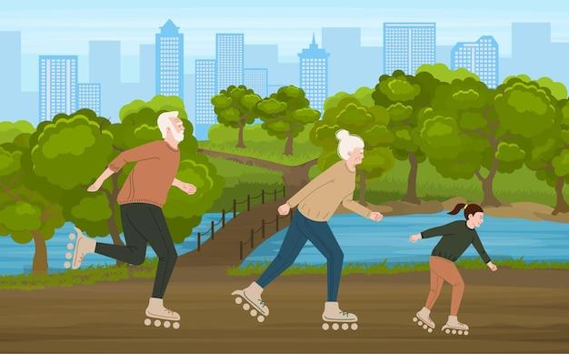 Idosos ativos e sua neta andando de patins no parque ilustração colorida