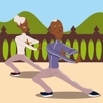 Idosos ativos, um casal de idosos praticando ioga