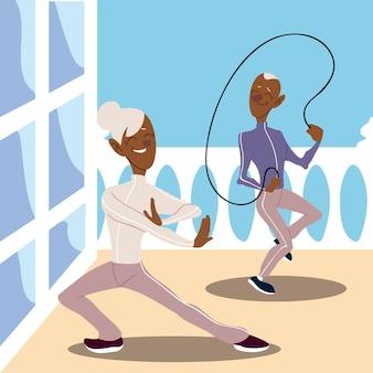 Idosos ativos, velho praticando salto à corda e mulher madura praticando ilustração de ioga