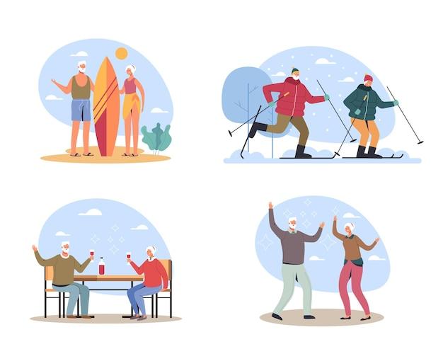 Idosos casal homem mulher personagem se divertindo e atividades férias