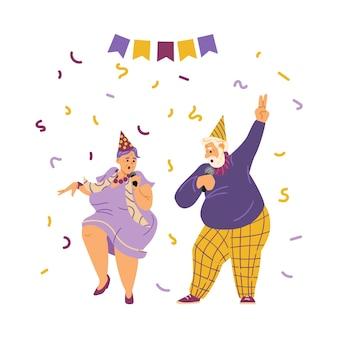 Idosos com chapéus festivos e microfones cantando no karaokê ou em uma festa