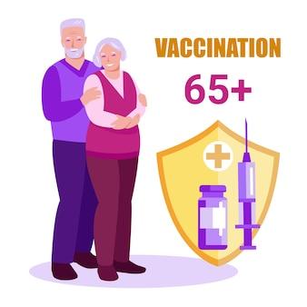 Idosos com escudo protege contra a doença covid19 vacinação de idosos