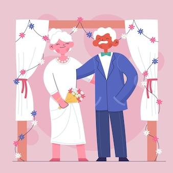 Idosos comemorando aniversário de casamento de ouro