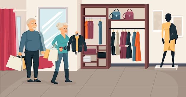 Idosos comprando composição com cenário interno de loja de roupas com desenhos de personagens humanos