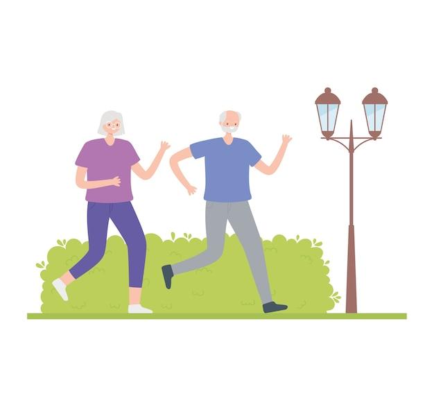 Idosos de atividade, feliz casal mais velho, andando de esporte de atividade na rua.