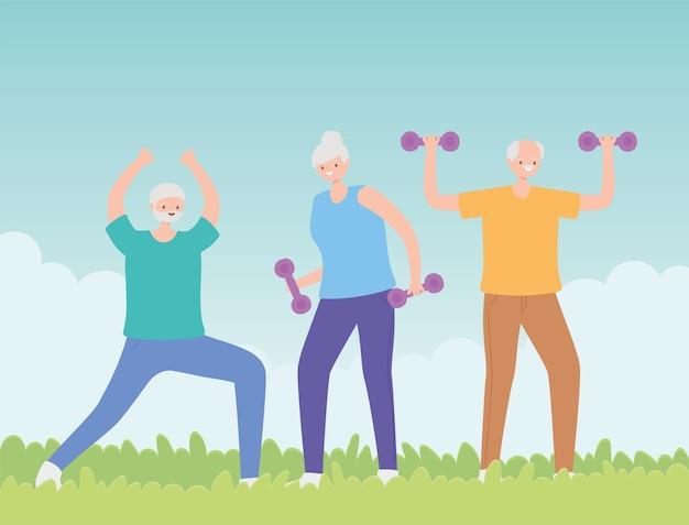 Idosos de atividade, grupo de idosos praticando exercícios com halteres no parque.
