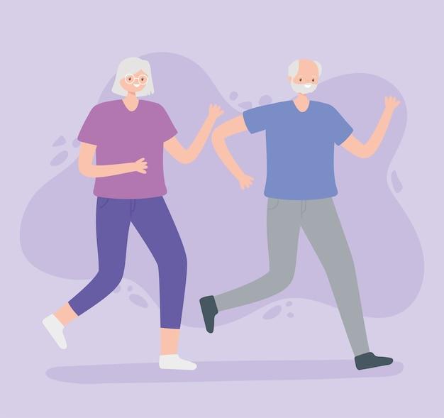 Idosos de atividade, homem idoso e mulher correndo esporte.