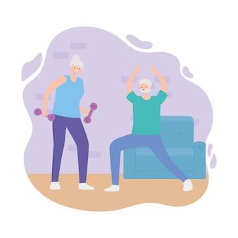 Idosos de atividade, mulher mais velha com halteres e velho alongamento na sala.