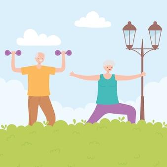 Idosos de atividade, mulher sênior e homem praticando atividades físicas no parque.