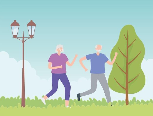Idosos de atividade, velho casal correndo esporte no parque.