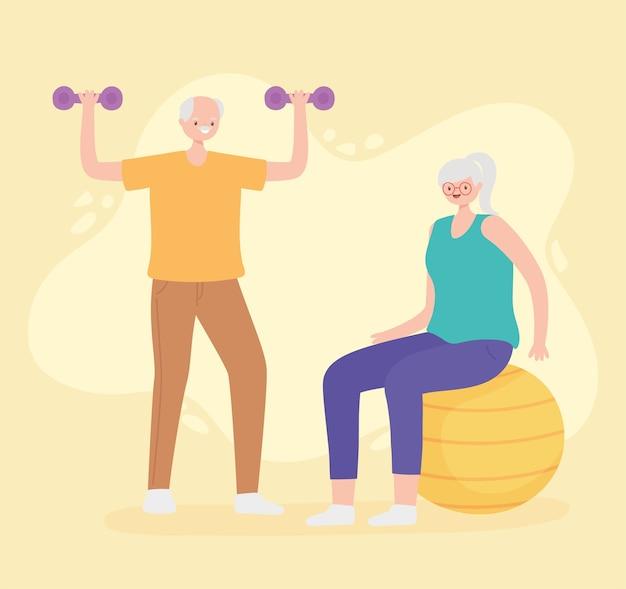 Idosos de atividade, velho casal praticando exercícios com bola e halteres.