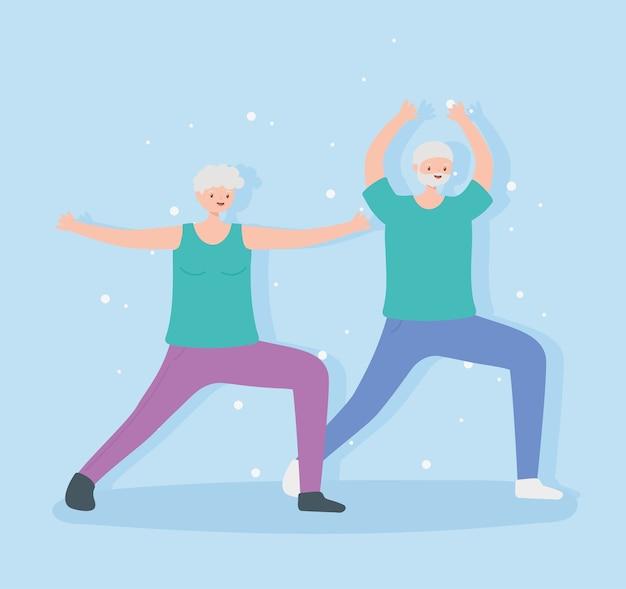 Idosos de atividade, velho e mulher, esporte de exercícios de alongamento.