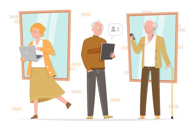 Idosos de design plano usando tecnologia ilustrada