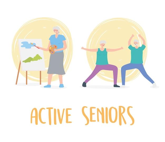 Idosos em atividade, idosos praticando exercícios e atividades de hobby.