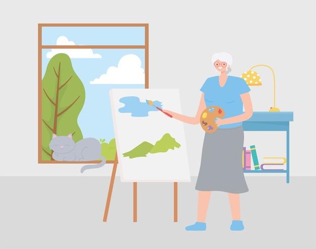 Idosos em atividade, velha pintando um quadro na ilustração da sala