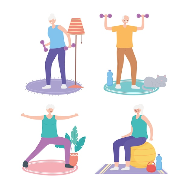 Idosos em atividades, idosos masculinos e femininos fazendo ilustração de atividades diferentes